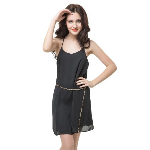 Nuevo Sexy mujer vestido sin mangas escote redondo Y espalda espaguetis correa cintura cadena Fiesta Club Mini vestido