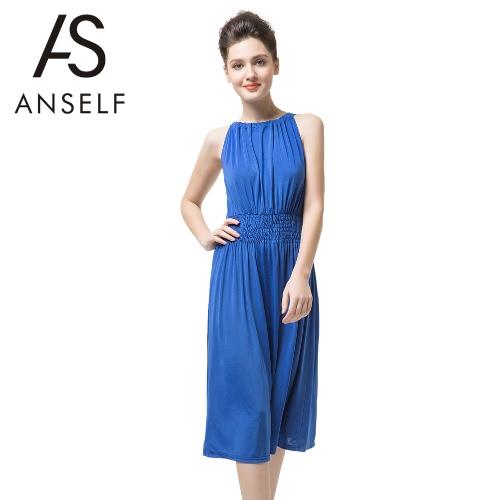 Nova moda mulheres vestido sem mangas Slash pescoço Drawstring dobra dividir sensual vestem azuis