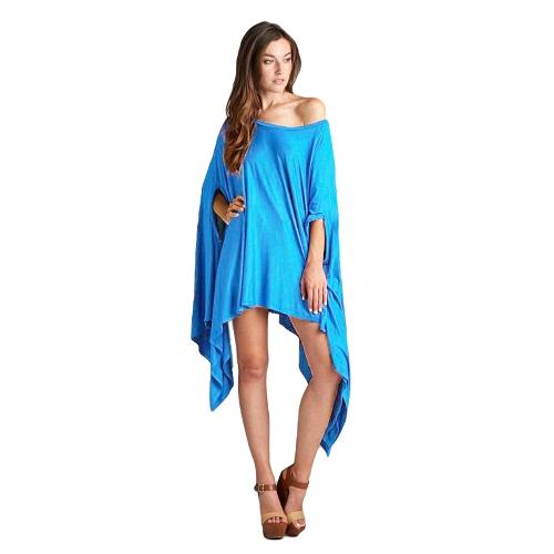 Nueva moda mujeres Mini alas de murciélago vestido tamaño más suelta asimétrica superior túnica capa Poncho