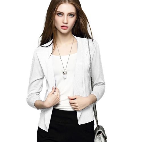 New Spring Women Knitted Cardigan Lapel Open Front Long Sleeves Casual Slim Coat Outwear Knitwear