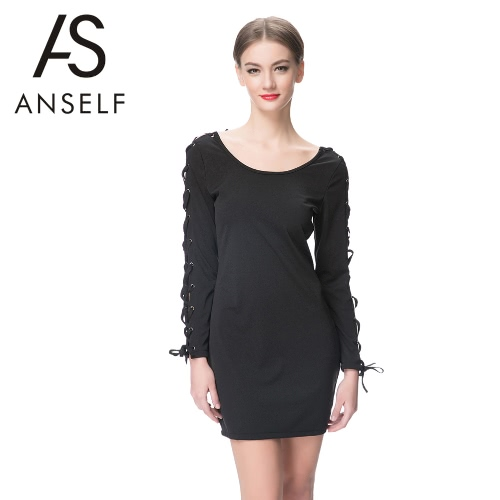 Nueva moda mujer vestido de encaje Color sólido atado manga redondo cuello manga larga jersey Mini vestido negro