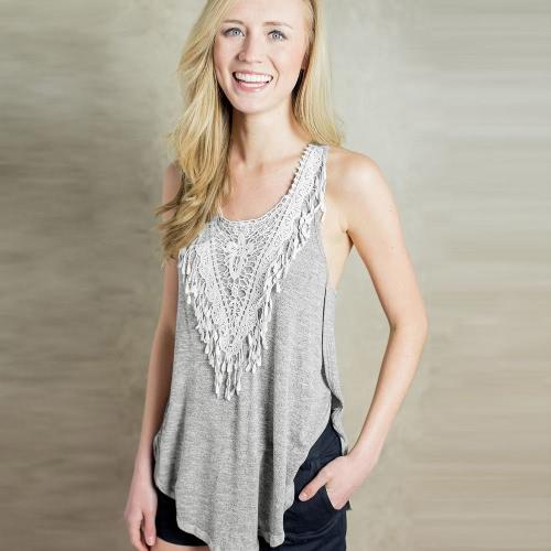 Nueva moda mujeres camiseta Crochet encaje lateral fracturas redondo cuello sin mangas Casual Tank Top gris