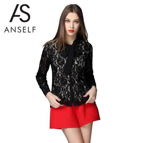 New Fashion Women Lace Blouse Round Neck Long Sleeve Button Front Bowknot Lined Tops Shirts Black