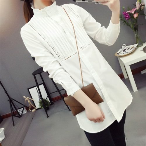 New Fashion Women OL Shirt Hollow Out Ruffle Stand Collar Long Sleeve Button Blouse Top White