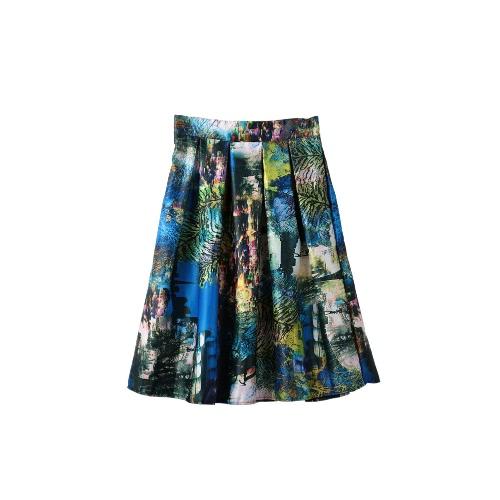 Mujeres retras falda noche impresión Vestido plisado elástico cintura cremallera trasera Midi Falda azul