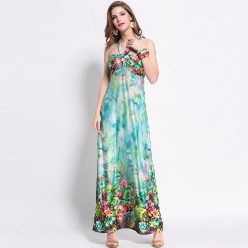Moda mujer verano vestido largo vestido Floral de impresión cuello playa Backless vestido rosa/verde