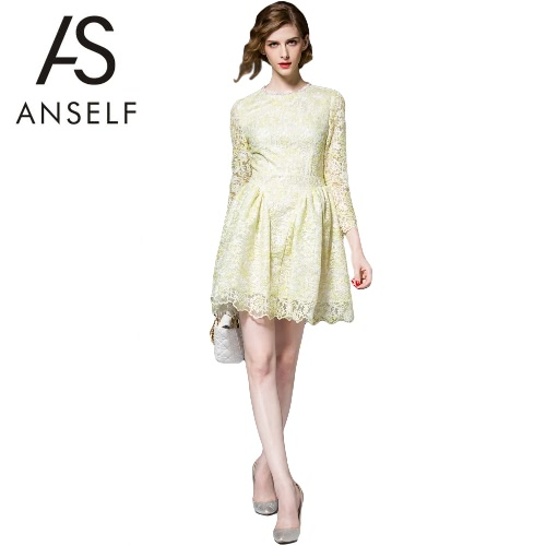 Anself Elegant  Sweet Floral Embroidery 3/4 Sleeve A-line Women's Skater Lace Dress