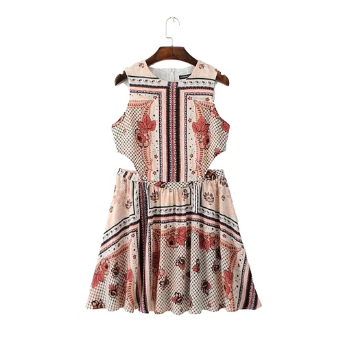 Vintage Floral Print Cut Out Sleeveless Slim Mini Summer Dress for Women