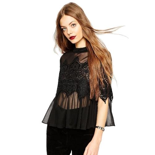 Encaje blusa mujer Moda primavera verano camiseta ganchillo hueco superior blusa de gasa blanco/negro