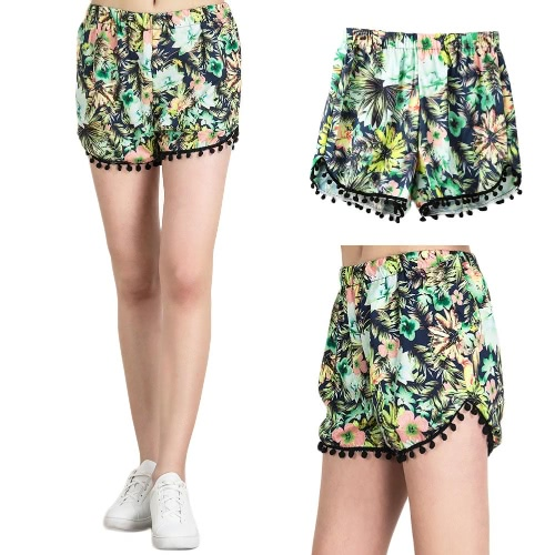 Ropa de moda mujer Boho playa Floral impresión elástico cintura Pom Pom verano deportes pantalones verde