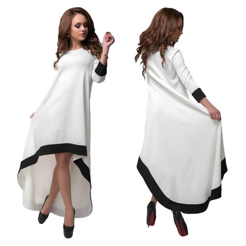 Mode Frauen lange Kleid Kontrast Farbe High-Low Hem O-Neck 3/4 Ärmel lose elegante Party Abendkleid weiß