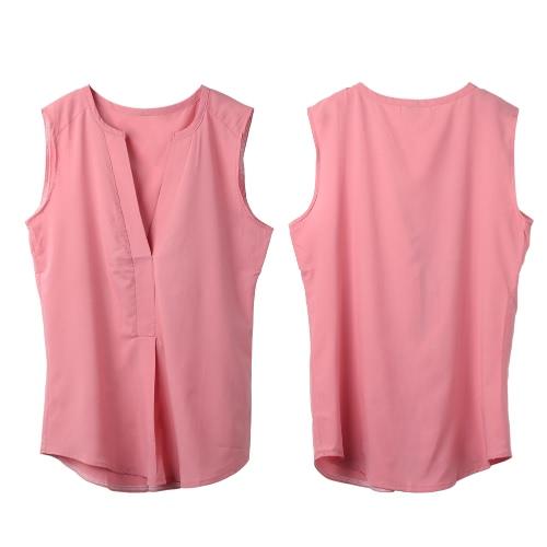 Verano las mujeres blusa de Gasa V cuello sin mangas drapeado delantero suelto Casual Top negro/Sandía rojo/rosa