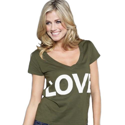 Nova moda mulheres t-shirt carta impressão gola v manga curta cor sólida Top preto/verde