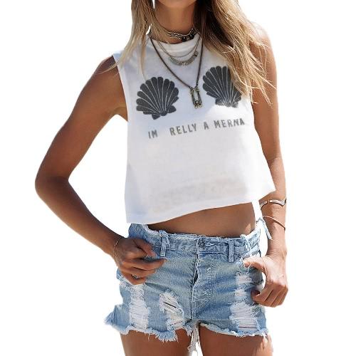 TOMTOP / Nova moda mulheres Tank Top conchas colete Casual sem mangas de impressão O-garganta t-shirt branca