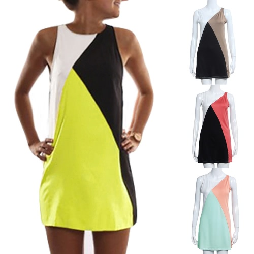 New Fashion Women Dress Splice Round Neck Sleeveless Elastic Casual Vintage Mini Dress