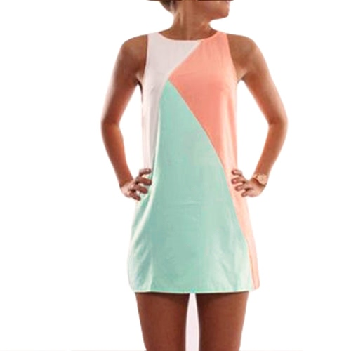 New Fashion Women Dress Splice Round Neck Sleeveless Elastic Casual Vintage Mini Dress