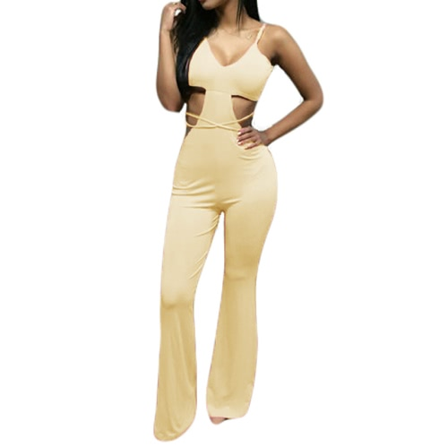 Mulheres Sexy novas deflagrou perna macacão espaguete cinta recorte traseiro aberto às tiras cintura macacão rosa/bege