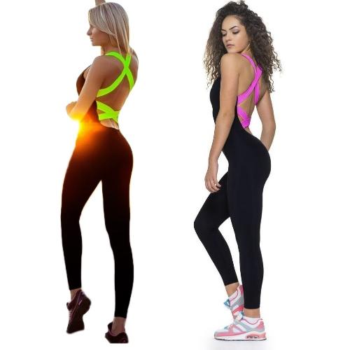 Women Sexy Backless Sports Bodysuit Tight Jumpsuit Rompers O-Neck Sleeveless Sportswear Rose/Green