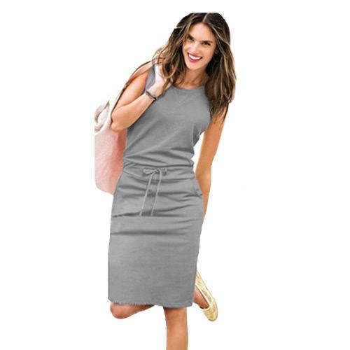 Vestido sin mangas con cuello en V para mujer Vestido sin mangas sin mangas con cuello en V sin mangas gris / rosa / azul oscuro