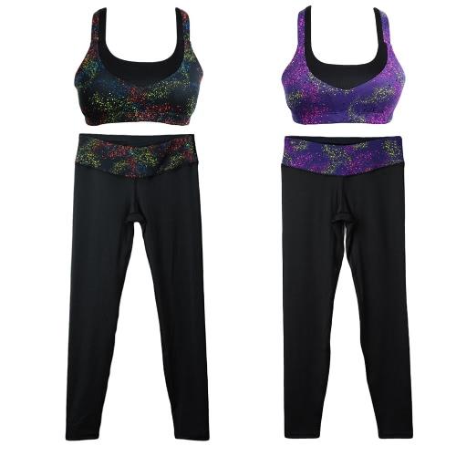Image of Mode Frauen Sport-BH Print nahtlose Wireless gepolsterte Strecken atmungsaktiver Yoga Gym Weste schwarz/lila