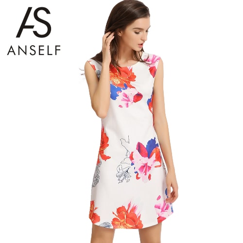 New Fashion Women Mini Dress Contrast Floral Print O-Neck Sleeveless Back Zipper Elegant A-Line Dress White