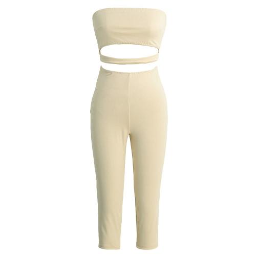 Nowe mody Kobiety Kombinezon stałe ramiączek Backless Cut Out Przycięte Leg Skinny Fit Sexy pajacyki Czarny / Apricot