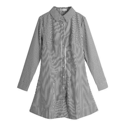 Frauen-Hemd-Kleid vertikal gestreiften Turn-Down-Kragen Langarm Knopf-beiläufige Bluse Minikleid-Blau / Schwarz / Rot