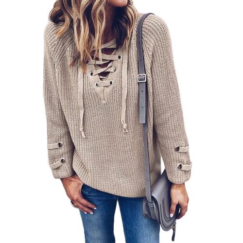 Nowi Kobiety V Szydełkowa Sweter Striped Bandage Cross Ties Bluza Swobodna Luźna Długa Bluza Z Dżinsami Top