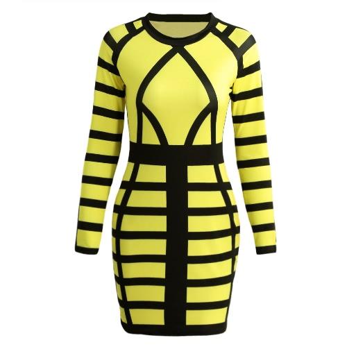 Atractivo de las mujeres mini vestido ajustado de color bloque de la raya del O Cuello de Clubwear del partido de manga larga vestido de noche rosa / amarillo