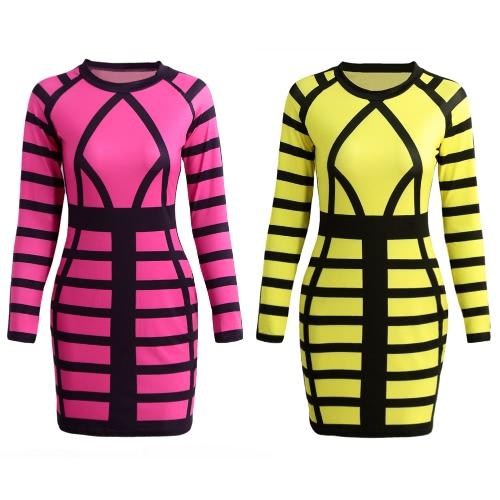 Sexy Frauen MiniBodycon Kleid-Farben-Block-Streifen-O Ansatz lange Hülsen Clubwear Partei-Abendkleid Rose / Gelb