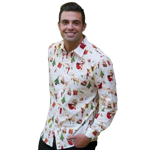 Nuevos hombres de otoño camisa de impresión de Navidad Día de fiesta de dibujos animados camisa de vestir de manga larga Casual Top
