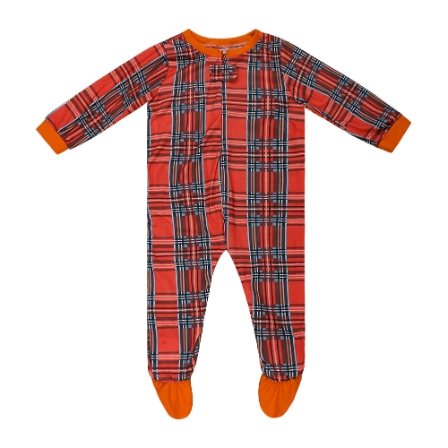 Bebé de la familia Toddler One-Piece Plaid Jumpsuit Pijama Ropa de dormir O-cuello de manga larga Casual Child House Wear