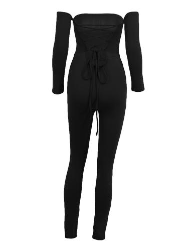 Sexy Women Off Shoulder Jumpsuit Backless Bandage Long Sleeve Rompers Bodycon Playsuit Bodysuit Catsuit Blue/Burgundy/Black