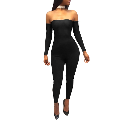 Sexy Women Off Shoulder Jumpsuit Backless Bandage manga comprida Rompers Bodycon Bodysuit Bodysuit Catsuit Azul / Borgonha / Preto