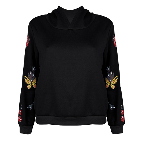 New Fashion Women Hoodie Sweatshirts Butterfly Floral Print Long Sleeve Pullover Hooded Loose Tops