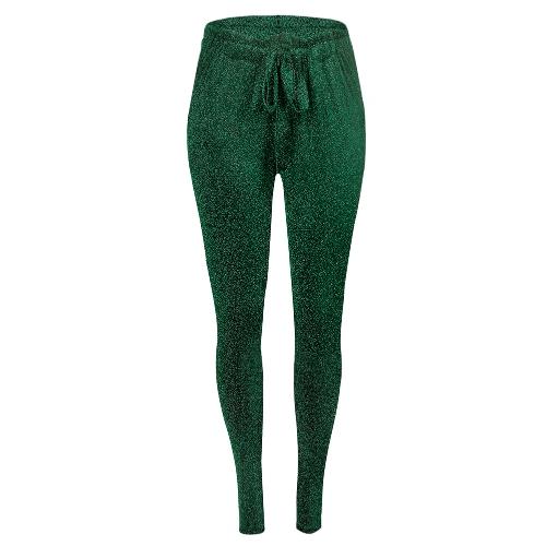 Pantalones largos de las mujeres de la manera Pantalones delgados ocasionales de la cintura elástica metálica con lentejuelas