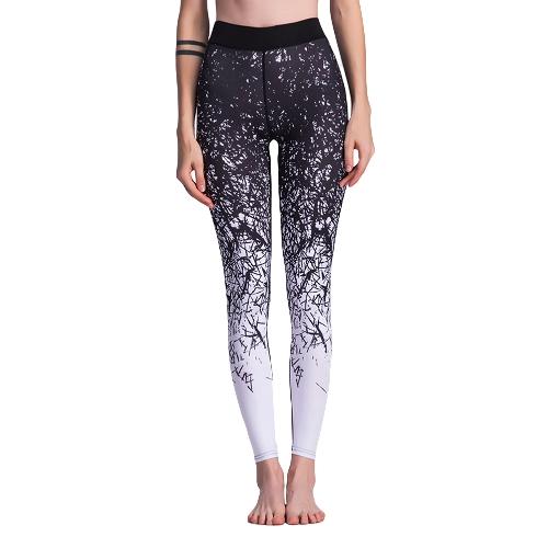 Pantalones de yoga de la aptitud de las mujeres Polainas de deportes Medias impresas entrenamiento Running pantalones casuales flacos azul / azul
