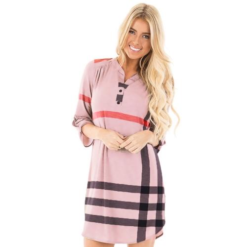 Fashion Women Plaid Shirt Dress Roll Up Sleeves Button V-Neck Pockets Curved Hem Casual Mini Dress Shift Dress