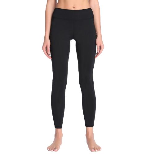 Pantalones de yoga sólido de las mujeres de las polainas de las mallas de entrenamiento del entrenamiento Pantalones de la aptitud flacos casuales