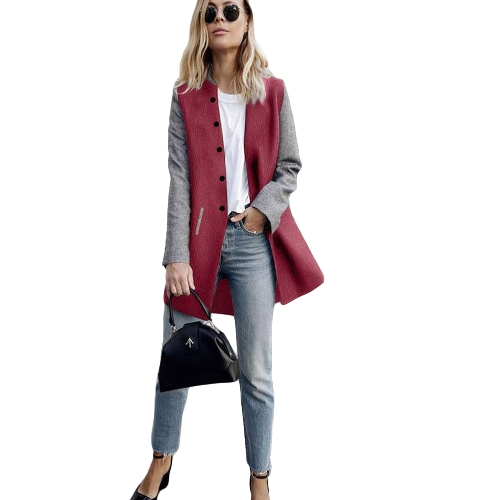 Abrigo de invierno de las mujeres del color del empalme de manga larga bolsillos laterales botones Warm casual prendas de vestir exteriores