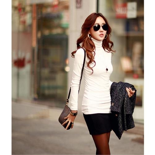 Women Turtleneck Long Sleeve Regular fit T-Shirt