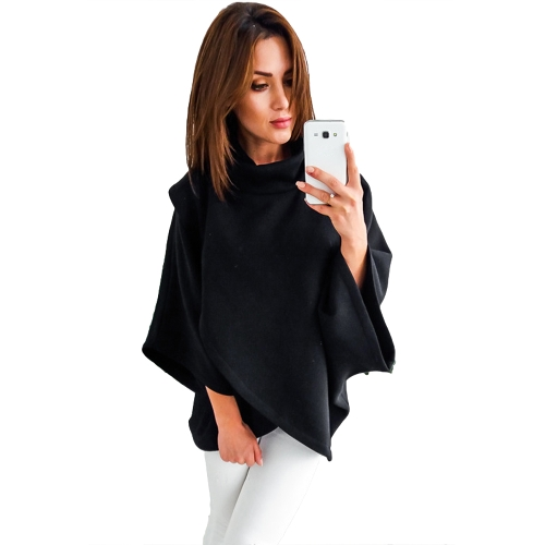 Damska luźna bluza Solidny golf Nieregularne trzy czwarte rękaw Batwing Casual Warm Pullover Women Loose Sweatshirt Solidny golf Nieregularny Three Quarter Batwing Sleeve Casual Warm Pullover