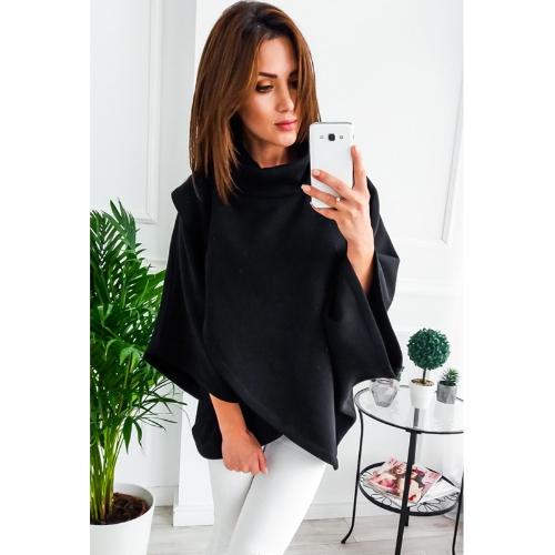 Women Loose Sweatshirt Solid Turtleneck Irregular Three Quarter Batwing Sleeve Casual Warm PulloverWomen Loose Sweatshirt Solid Turtleneck Irregular Three Quarter Batwing Sleeve Casual Warm Pullover