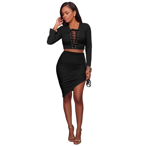 Sexy Women Conjunto de duas peças Deep V Neck Crop Top Bandagem de manga comprida Asymmetric Bodycon Skirt Suits Party Clubwear