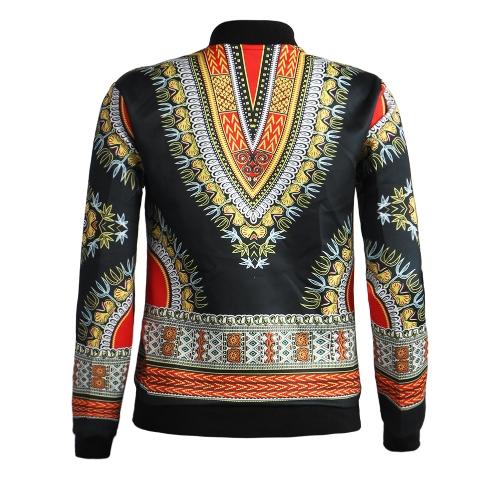 Mode Frauen Bomberjacke Vintage Print Langarm Reißverschluss Oberbekleidung Beiläufige Kurze Jacke Mantel
