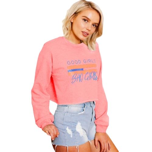 Camiseta de manga larga para mujer Camiseta de manga larga con estampado de letras Sudadera con capucha de camiseta casual