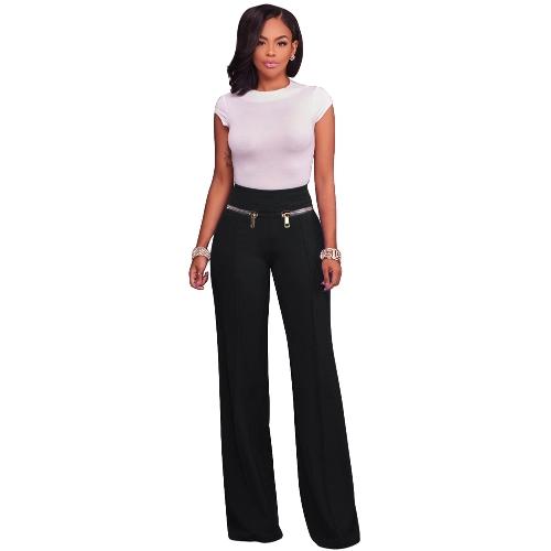 Spodnie dresowe damskie, proste spodnie nogawkowe, spodnie z wysokim stanem, solidne spodnie OL Work Wear