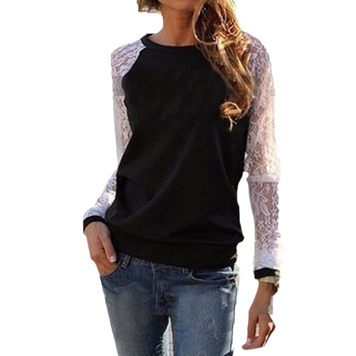 Frauen Lace Solid Shirts Häkeln Splice Langarm Slim Casual Grund Tops Casual Bluse