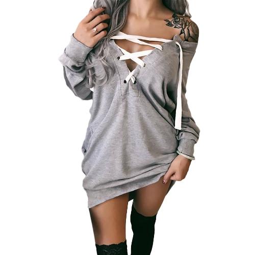 Mujeres atractivas de la sudadera con capucha del hombro Sweatershirt Pullovers con cordones de las mangas largas de cuello en V profunda Tops casuales Outwear