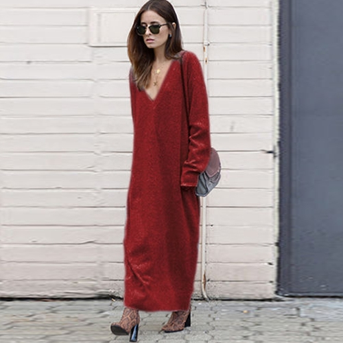 Winter Women Maxi Loose Deep V Neck Long Sleeve  Knitted Dress